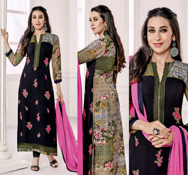 BLACK GEORGETTE UNSTITCHED DESIGNER LONG SALWAR KAMEEZ SUIT DRESS MATERIAL w EMBR LADIES DEN - Ladies Den