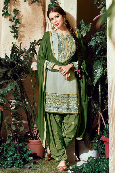 PALE GREEN-OLIVE GREEN COTTON UNSTITCHED SALWAR KAMEEZ SUIT DRESS MATERIAL w EMBR LADIES DEN - Ladies Den