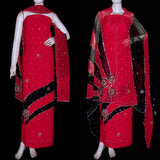 RED-BLACK GEORGETTE CREPE UNSTITCHED SALWAR KAMEEZ SUIT DRESS MATERIAL HEAVY DUPATTA KUNDAN & SEQUINS WORK LADIES DEN - Ladies Den