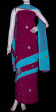 WINE & LT TURQUOISE GEORGETTE CREPE UNSTITCHED SALWAR KAMEEZ SUIT DRESS MATERIAL HEAVY DUPATTA KUNDAN & SEQUINS WORK LADIES DEN - Ladies Den