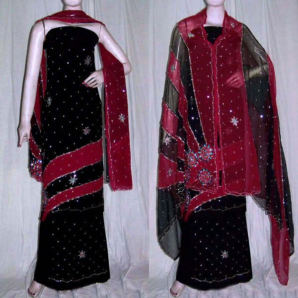 BLACK-MAROON RED GEORGETTE CREPE UNSTITCHED SALWAR KAMEEZ SUIT DRESS MATERIAL HEAVY DUPATTA KUNDAN & SEQUINS WORK LADIES DEN - Ladies Den