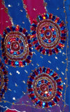 DARK BLUE & RED GEORGETTE CREPE UNSTITCHED SALWAR KAMEEZ SUIT DRESS MATERIAL HEAVY DUPATTA KUNDAN & SEQUINS WORK LADIES DEN - Ladies Den