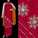 RED GEORGETTE UNSTITCHED SALWAR KAMEEZ SUIT DRESS MATERIAL w MIRROR & SEQUINS WORK LADIES DEN - Ladies Den