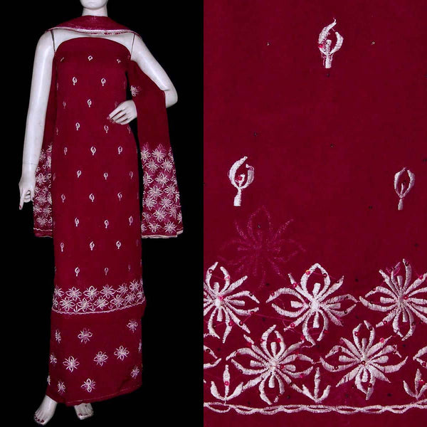 MAROON MICRO CHIFFON UNSTITCHED SALWAR KAMEEZ SUIT DRESS MATERIAL w RESHAM EMBR LADIES DEN - Ladies Den