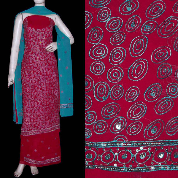 RED GEORGETTE UNSTITCHED SALWAR KAMEEZ SUIT DRESS MATERIAL RESHAM EMBR LADIES DEN - Ladies Den