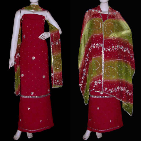 MAROON RED GEORGETTE CREPE UNSTITCHED SALWAR KAMEEZ SUIT DRESS MATERIAL HEAVY DUPATTA KUNDAN & SEQUINS WORK LADIES DEN - Ladies Den