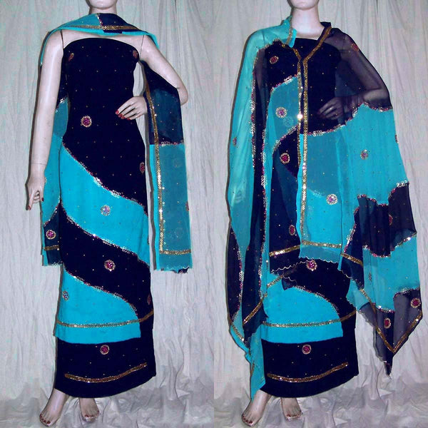 NIGHT BLUE-TURQUOISE GEORGETTE CREPE UNSTITCHED SALWAR KAMEEZ SUIT DRESS MATERIAL HEAVY DUPATTA ZARI & MIRROR WORK LADIES DEN - Ladies Den