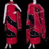 RED-BLACK GEORGETTE CREPE UNSTITCHED SALWAR KAMEEZ SUIT DRESS MATERIAL HEAVY DUPATTA ZARI & MIRROR WORK LADIES DEN - Ladies Den