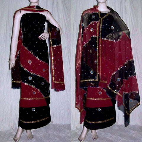 BLACK-MAROON RED GEORGETTE CREPE UNSTITCHED SALWAR KAMEEZ SUIT DRESS MATERIAL HEAVY DUPATTA ZARI & MIRROR WORK LADIES DEN - Ladies Den