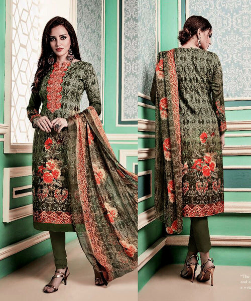DARK OLIVE GREEN PRINTED PASHMINA WOOL UNSTITCHED SALWAR KAMEEZ SUIT w EMBR DRESS MATERIAL LADIES DEN - Ladies Den
