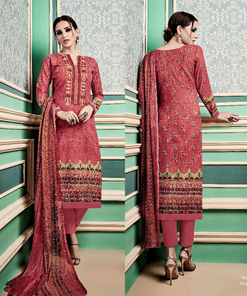 SALMON PINK PRINTED PASHMINA WOOL UNSTITCHED SALWAR KAMEEZ SUIT w EMBR DRESS MATERIAL LADIES DEN - Ladies Den