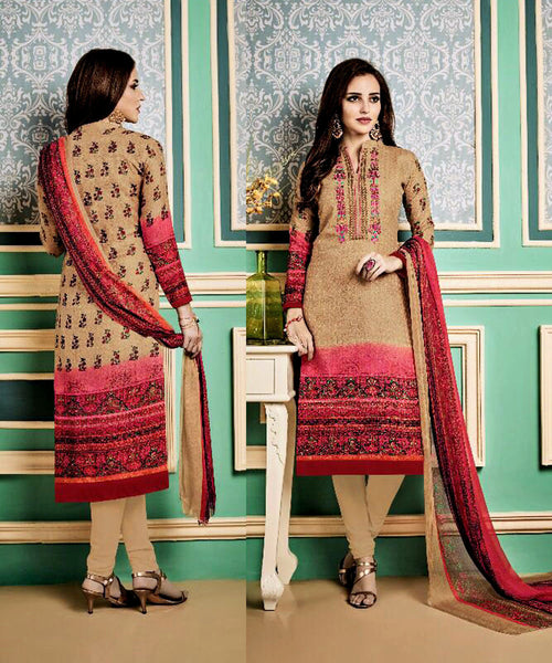DEEP BEIGE PRINTED PASHMINA WOOL UNSTITCHED SALWAR KAMEEZ SUIT w EMBR DRESS MATERIAL LADIES DEN