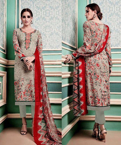 PALE GRAY GREEN PRINTED PASHMINA WOOL UNSTITCHED SALWAR KAMEEZ SUIT w EMBR DRESS MATERIAL LADIES DEN