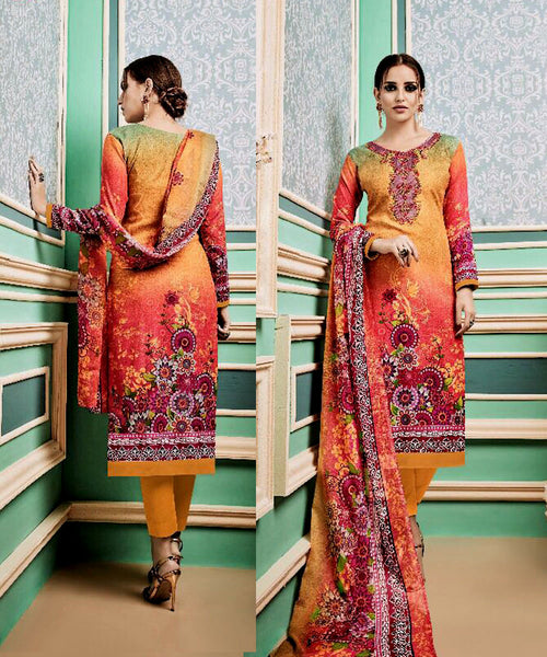 DARK YELLOW PRINTED PASHMINA WOOL UNSTITCHED SALWAR KAMEEZ SUIT w EMBR DRESS MATERIAL LADIES DEN - Ladies Den