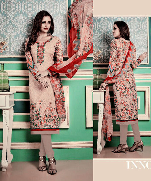 PALE ALMOND PRINTED PASHMINA WOOL UNSTITCHED SALWAR KAMEEZ SUIT w EMBR DRESS MATERIAL LADIES DEN - Ladies Den