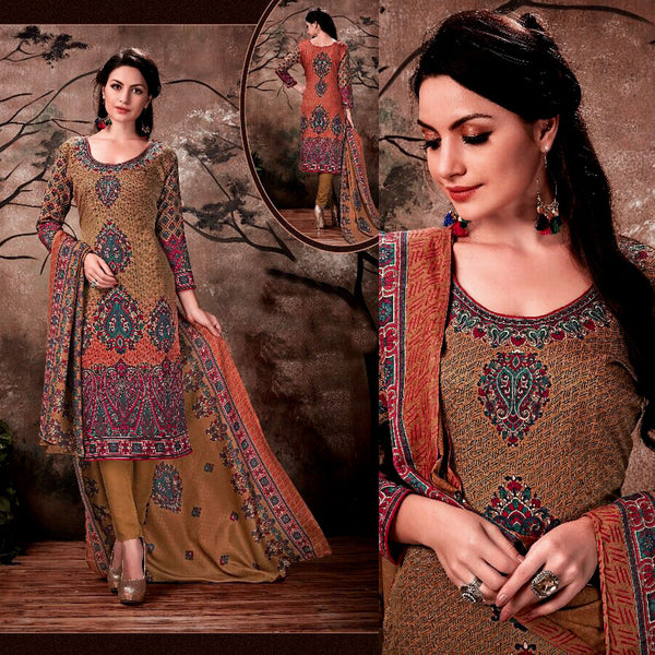 DARK GOLDEN ROD JAMAWAR STYLE PRINTED PASHMINA WOOL UNSTITCHED SALWAR KAMEEZ SHAWL SUIT DRESS MATERIAL LADIES DEN - Ladies Den