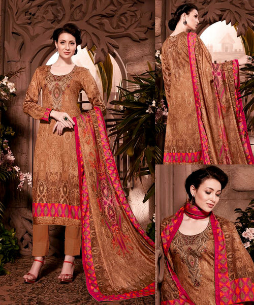 KHAKI BROWN PAKISTANI STYLE PRINTED PASHMINA WOOL UNSTITCHED SALWAR KAMEEZ SHAWL SUIT w EMBR DRESS MATERIAL LADIES DEN - Ladies Den