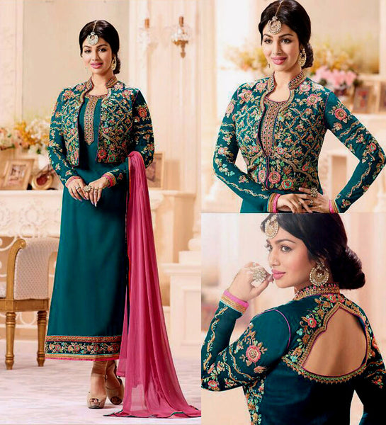TEAL GEORGETTE UNSTITCHED JACKET STYLE LONG SALWAR KAMEEZ SUIT DRESS MATERIAL w EMBR LADIES DEN - Ladies Den