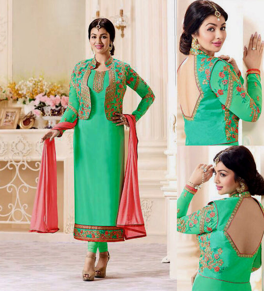 AQUAMARINE GEORGETTE UNSTITCHED JACKET STYLE LONG SALWAR KAMEEZ SUIT DRESS MATERIAL w EMBR LADIES DEN - Ladies Den
