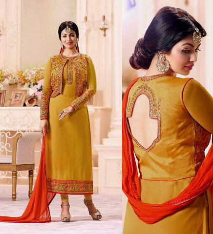 GOLDEN ROD GEORGETTE UNSTITCHED JACKET STYLE LONG SALWAR KAMEEZ SUIT DRESS MATERIAL w EMBR LADIES DEN - Ladies Den