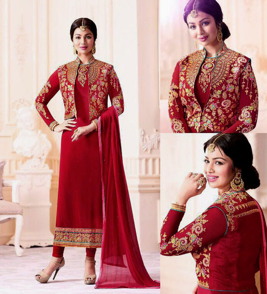 RED GEORGETTE UNSTITCHED JACKET STYLE LONG SALWAR KAMEEZ SUIT DRESS MATERIAL w EMBR LADIES DEN - Ladies Den