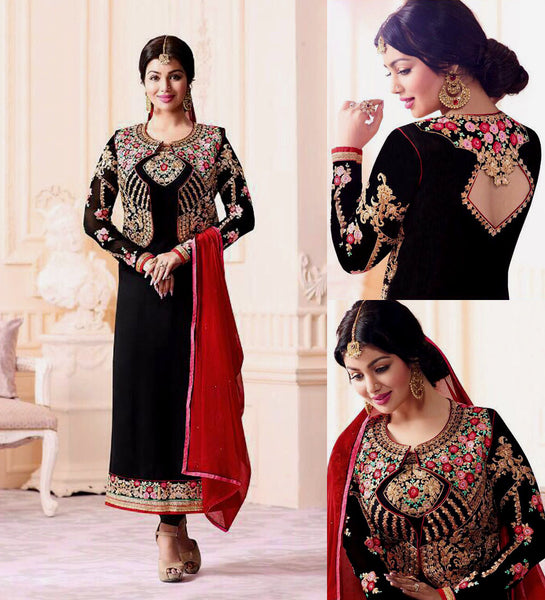 BLACK GEORGETTE UNSTITCHED JACKET STYLE LONG SALWAR KAMEEZ SUIT DRESS MATERIAL w EMBR LADIES DEN - Ladies Den