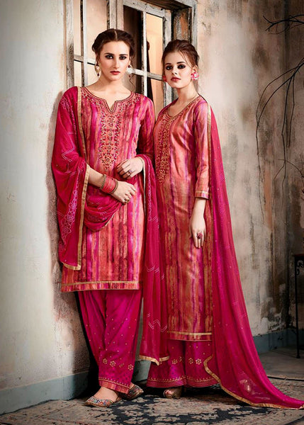 DEEP PINK PRINTED GLAZED COTTON UNSTITCHED PATIALA SALWAR KAMEEZ SUIT DRESS MATERIAL w EMBR LADIES DEN - Ladies Den