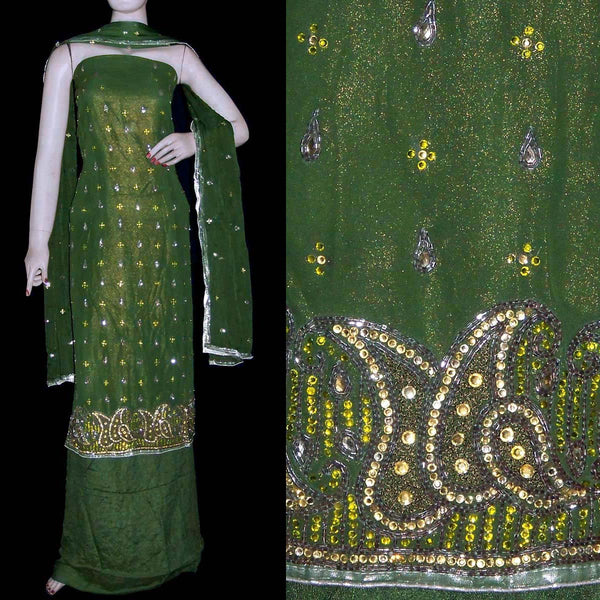 DARK OLIVE GREEN GOLDEN SHIMMER GEORGETTE UNSTITCHED SALWAR KAMEEZ SUIT DRESS MATERIAL KUNDAN & BEADS WORK LADIES DEN - Ladies Den