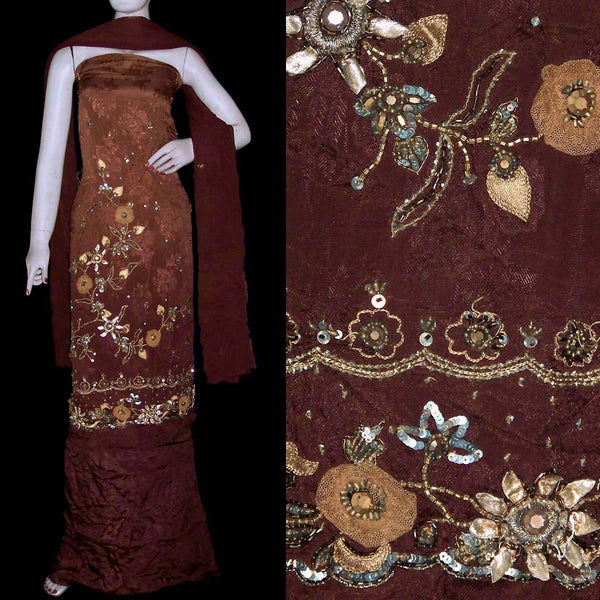 DARK BROWN JACQUARD CHINON CREPE UNSTITCHED SALWAR KAMEEZ SUIT DRESS MATERIAL APPLIQUE WORK LADIES DEN - Ladies Den