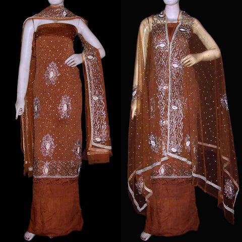 SIENNA BROWN JACQUARD CHINON CREPE UNSTITCHED SALWAR KAMEEZ SUIT DRESS MATERIAL HEAVY DUPATTA KUNDAN WORK LADIES DEN - Ladies Den