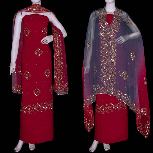MAROON RED GEORGETTE CREPE UNSTITCHED SALWAR KAMEEZ SUIT DRESS MATERIAL PURE GEORGETTE DUPATTA HEAVY KUNDAN & BEADS WORK LADIES DEN - Ladies Den