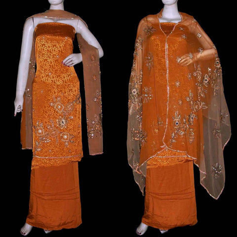 DARK YELLOW JACQUARD CREPE UNSTITCHED SALWAR KAMEEZ SUIT DRESS MATERIAL HEAVY DUPATTA KUNDAN & SEQUINS WORK LADIES DEN - Ladies Den