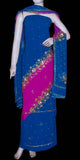DARK BLUE-DEEP PINK GEORGETTE CREPE UNSTITCHED SALWAR KAMEEZ SUIT DRESS MATERIAL HEAVY DUPATTA KUNDAN & SEQUINS WORK LADIES DEN - Ladies Den