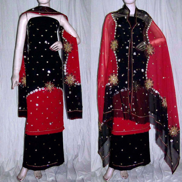 BLACK-RED GEORGETTE CREPE UNSTITCHED SALWAR KAMEEZ SUIT DRESS MATERIAL HEAVY DUPATTA KUNDAN & SEQUINS WORK LADIES DEN - Ladies Den