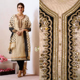 BEIGE-BLACK CHANDERI SILK BANARASI DUPATTA UNSTITCHED SALWAR KAMEEZ SUIT DRESS MATERIAL KUNDAN & BEADS WORK LADIES DEN - Ladies Den