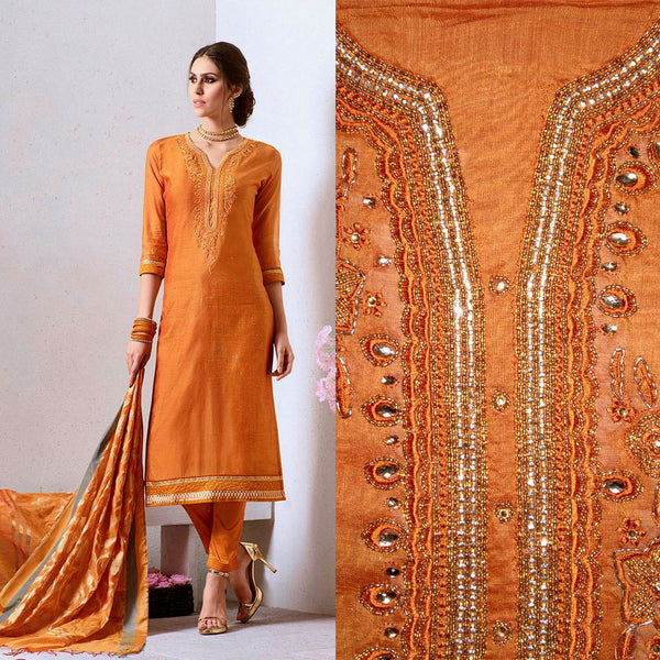TANGERINE ORANGE CHANDERI SILK BANARASI DUPATTA UNSTITCHED SALWAR KAMEEZ SUIT DRESS MATERIAL KUNDAN & BEADS WORK LADIES DEN - Ladies Den