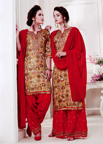 DARK BEIGE-RED PRINTED SATIN COTTON UNSTITCHED PATIALA SALWAR KAMEEZ SUIT DRESS MATERIAL w EMBR LADIES DEN - Ladies Den