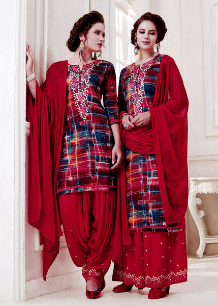 CHERRY RED PRINTED SATIN COTTON UNSTITCHED PATIALA SALWAR KAMEEZ SUIT DRESS MATERIAL w EMBR LADIES DEN - Ladies Den