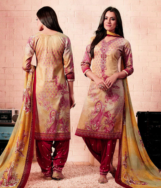 PALE YELLOW-MAROON RED PRINTED SATIN COTTON UNSTITCHED SALWAR KAMEEZ SUIT DRESS MATERIAL w EMBR LADIES DEN