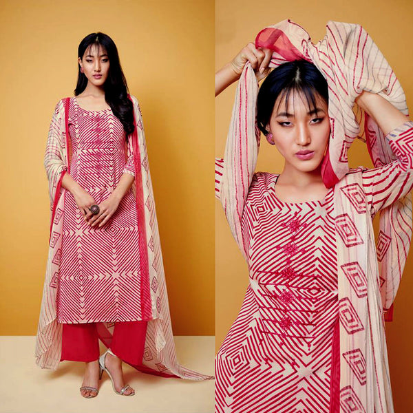 CARROT RED-BEIGE TIE-N-DYE STYLE PRINTED COTTON UP TO READY SIZE 64 UNSTITCHED SALWAR KAMEEZ SUIT DRESS MATERIAL w EMBR LADIES DEN - Ladies Den