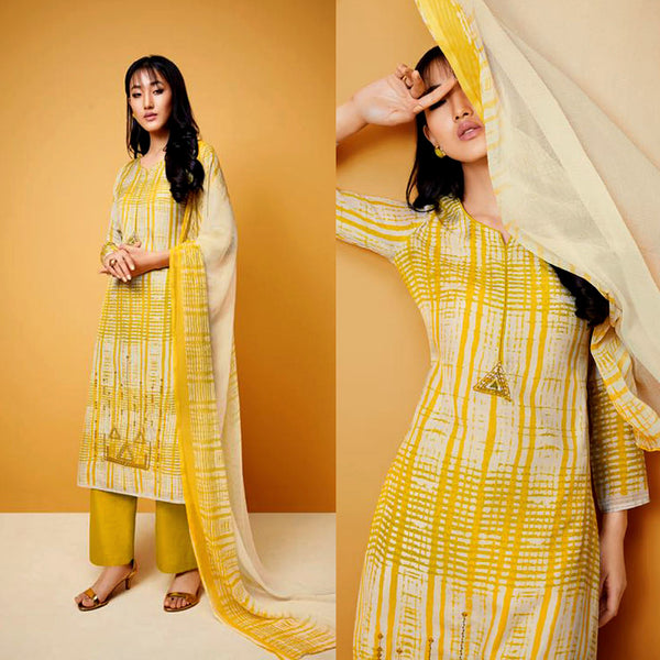LEMON YELLOW TIE-N-DYE STYLE PRINTED COTTON UP TO READY SIZE 64 UNSTITCHED SALWAR KAMEEZ SUIT DRESS MATERIAL w EMBR LADIES DEN - Ladies Den