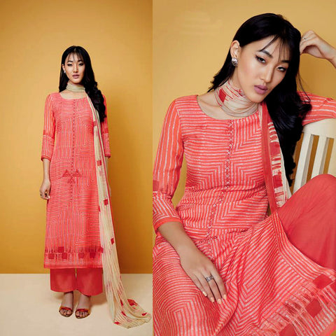 TOMATO ORANGE TIE-N-DYE STYLE PRINTED COTTON UP TO READY SIZE 64 UNSTITCHED SALWAR KAMEEZ SUIT DRESS MATERIAL w EMBR LADIES DEN - Ladies Den