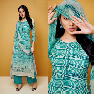 DARK TURQUOISE TIE-N-DYE STYLE PRINTED COTTON UP TO READY SIZE 64 UNSTITCHED SALWAR KAMEEZ SUIT DRESS MATERIAL w EMBR LADIES DEN - Ladies Den