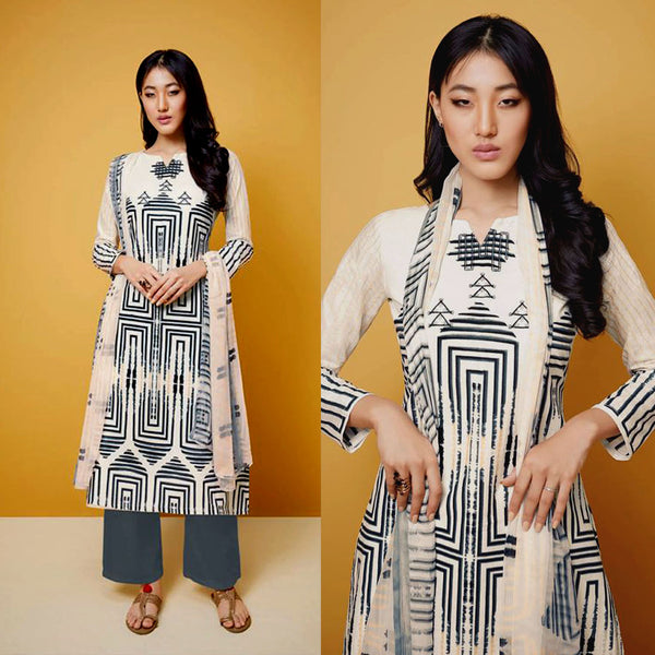 OFF WHITE-SLATE GRAY TIE-N-DYE STYLE PRINTED COTTON UP TO READY SIZE 64 UNSTITCHED SALWAR KAMEEZ SUIT DRESS MATERIAL w EMBR LADIES DEN