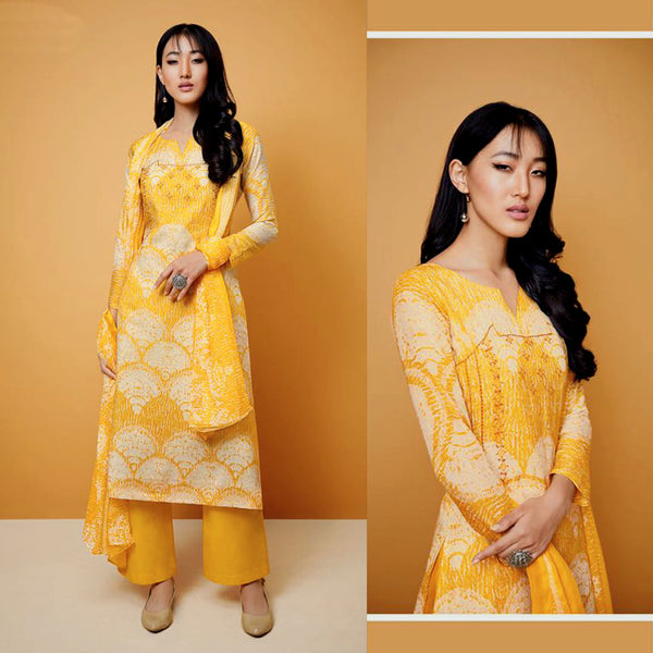 DEEP YELLOW TIE-N-DYE STYLE PRINTED COTTON UP TO READY SIZE 64 UNSTITCHED SALWAR KAMEEZ SUIT DRESS MATERIAL w EMBR LADIES DEN - Ladies Den