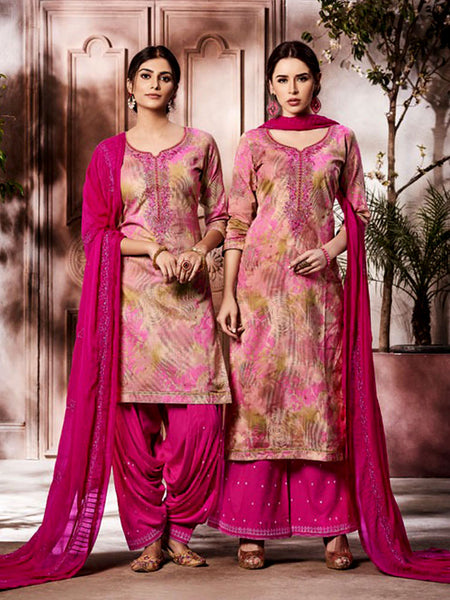 BEIGE-DEEP PINK PRINTED SLUB COTTON UNSTITCHED PATIALA SALWAR KAMEEZ SUIT DRESS MATERIAL UP TO READY SIZE 60 w EMBR LADIES DEN - Ladies Den