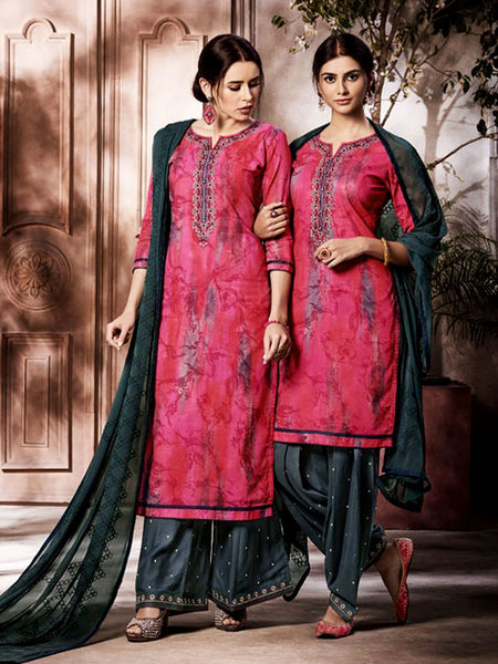 CARROT PINK-DARK SLATE GRAY PRINTED SLUB COTTON UNSTITCHED PATIALA SALWAR KAMEEZ SUIT DRESS MATERIAL UP TO READY SIZE 60 w EMBR LADIES DEN - Ladies Den