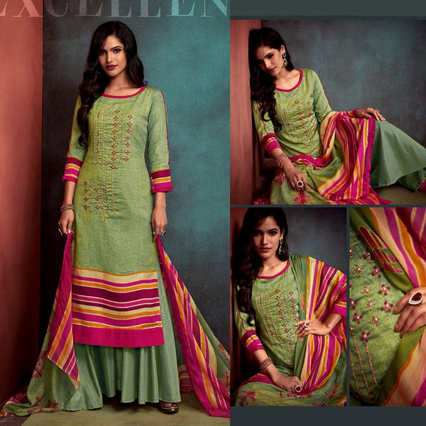 DULL CARDAMOM GREEN PRINTED SATIN COTTON UNSTITCHED SALWAR KAMEEZ SUIT DRESS MATERIAL w KATLI BEADS WORK LADIES DEN - Ladies Den