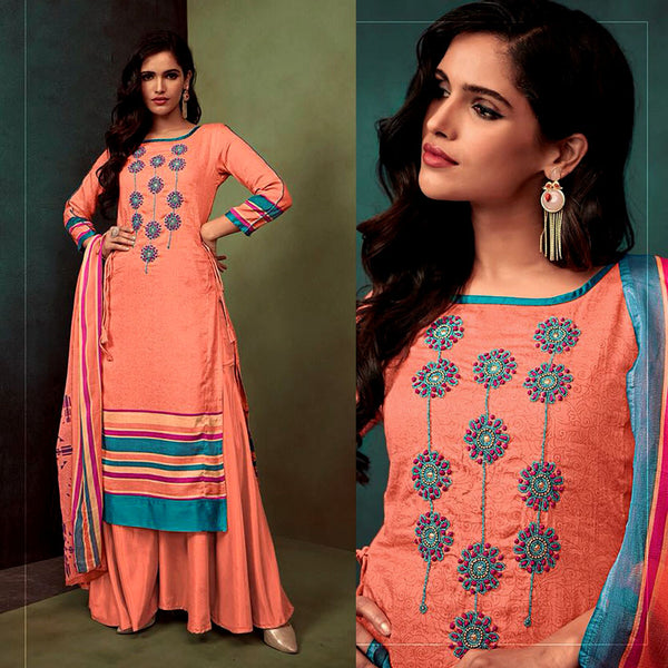 PASTEL ORANGE PRINTED SATIN COTTON UNSTITCHED SALWAR KAMEEZ SUIT DRESS MATERIAL w KATLI BEADS WORK LADIES DEN