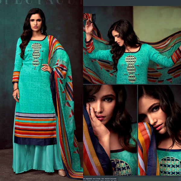 TURQUOISE PRINTED SATIN COTTON UNSTITCHED SALWAR KAMEEZ SUIT DRESS MATERIAL w KATLI BEADS WORK LADIES DEN